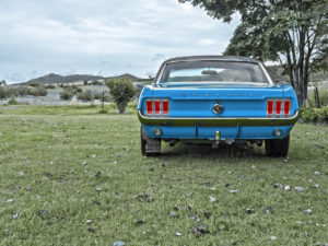 Old Ford Mustang Blue